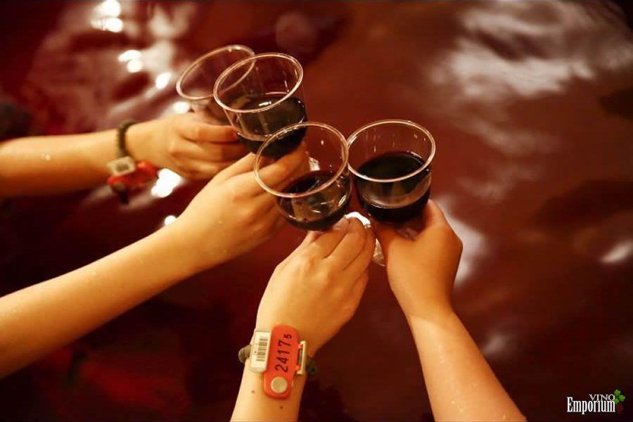 Brindes são feitos numa piscina de vinho de verdade