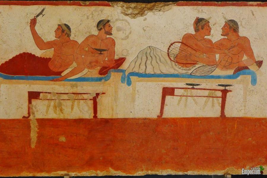 Pintura mostra gregos antigos jogando kottabos em um simpósio