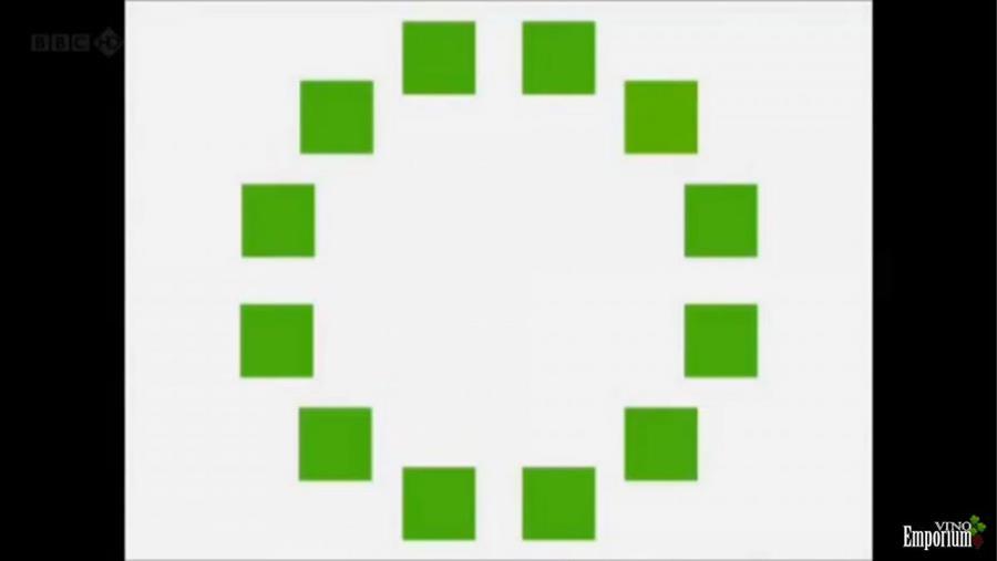 Você consegue detectar qual o quadrado com a tonalidade de verde diferente?
